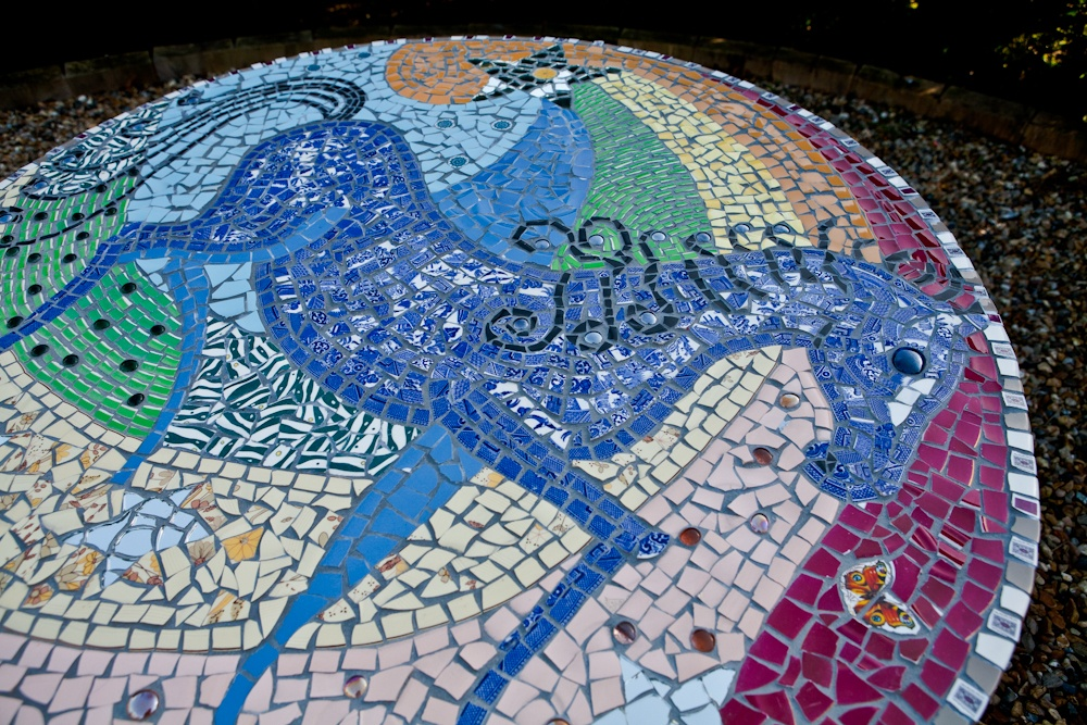 Blue horse mosaic table top