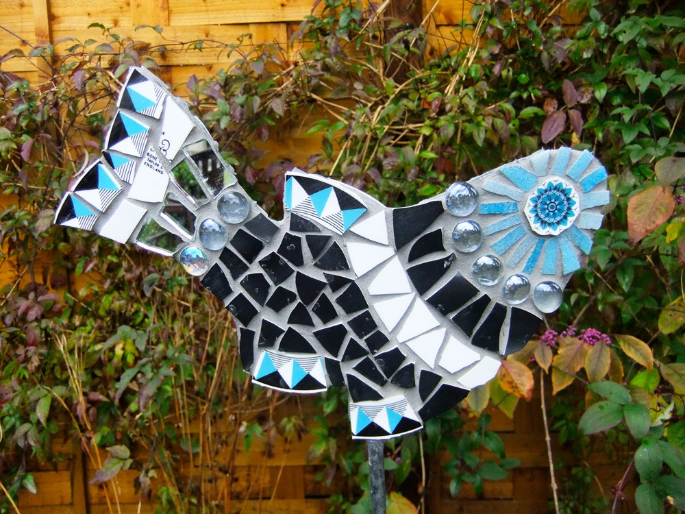 Mosaic fish on galvanised steel stake