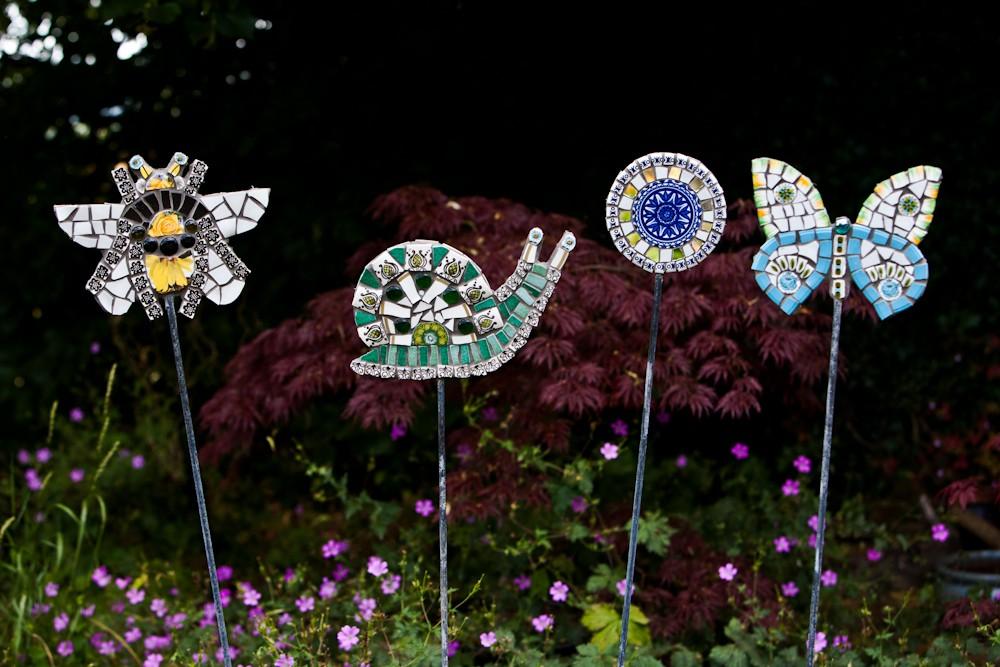 Mosaic garden stakes