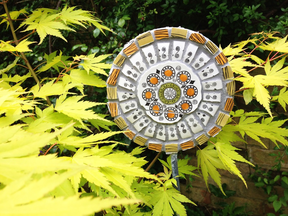 Vintage ceramic mosaic lollipop stake
