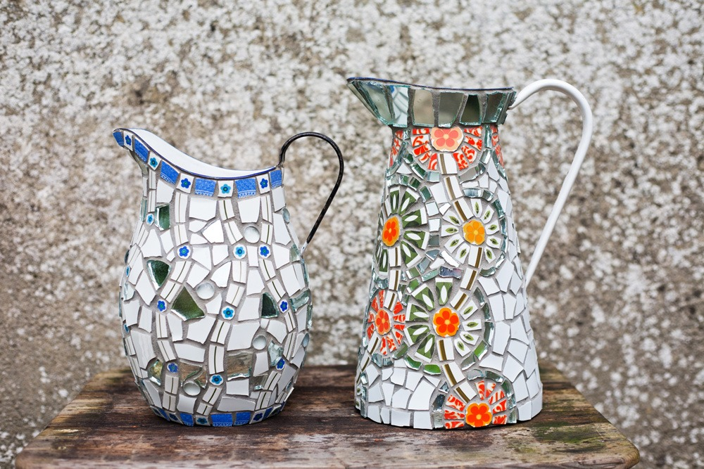 Enamel jugs with vintage china mosaic