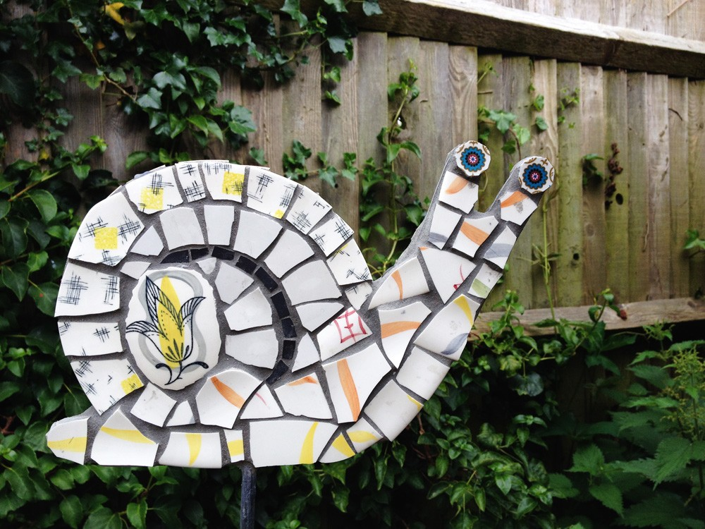 Vintage ceramic mosaic snail (double sided