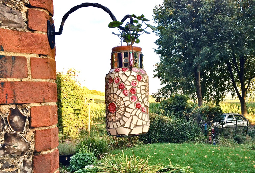 Mosaic vintage Rose French milk churn
