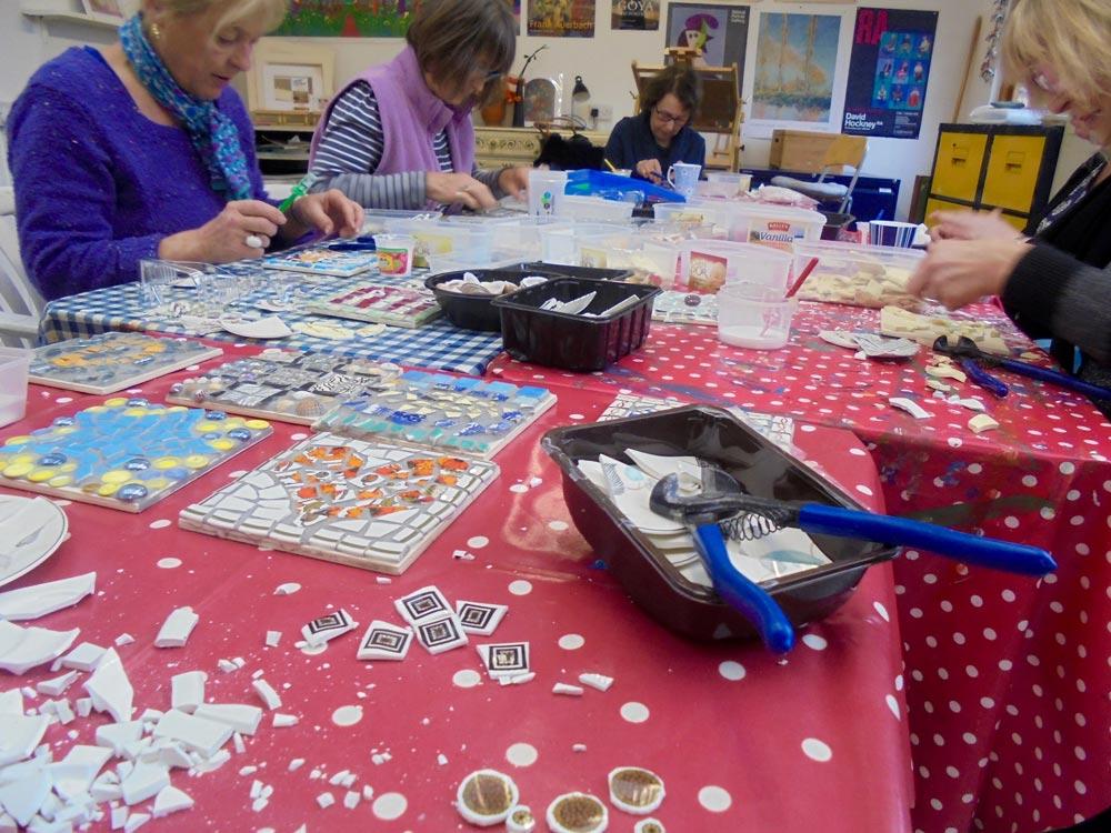 mosaic, workshop,vintage,retro,wellbeing,creative,upcycle,repurpose