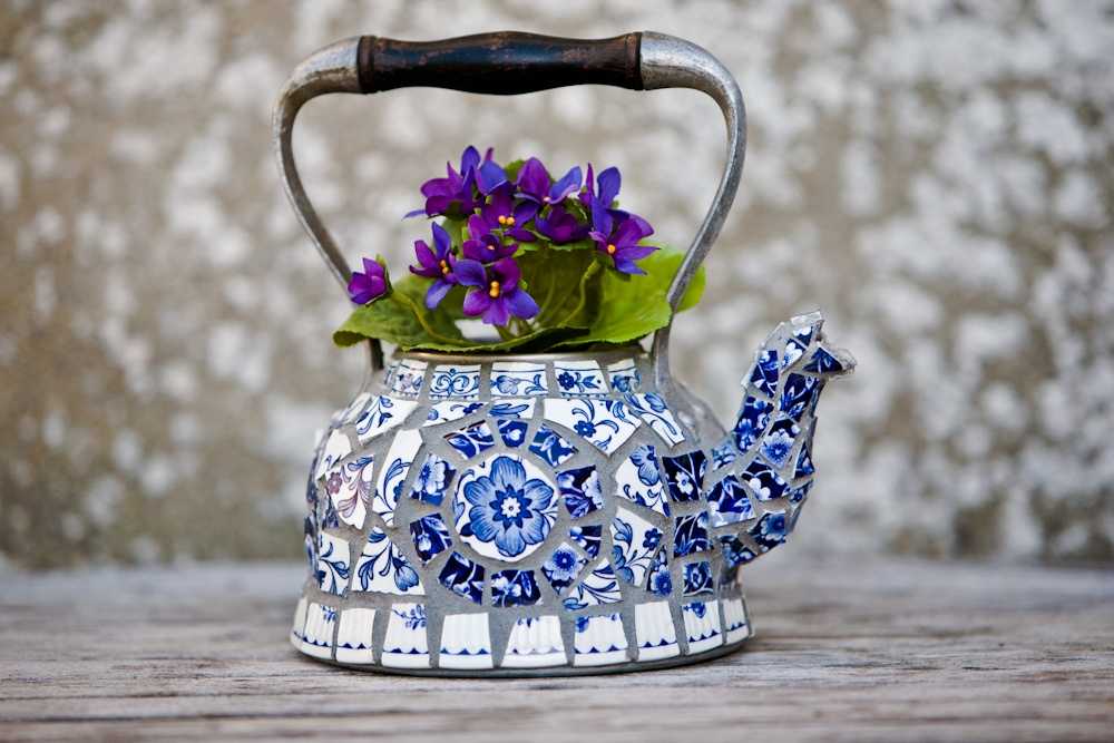 Retro kettle decorated in vintage Danish ceramic mosaic