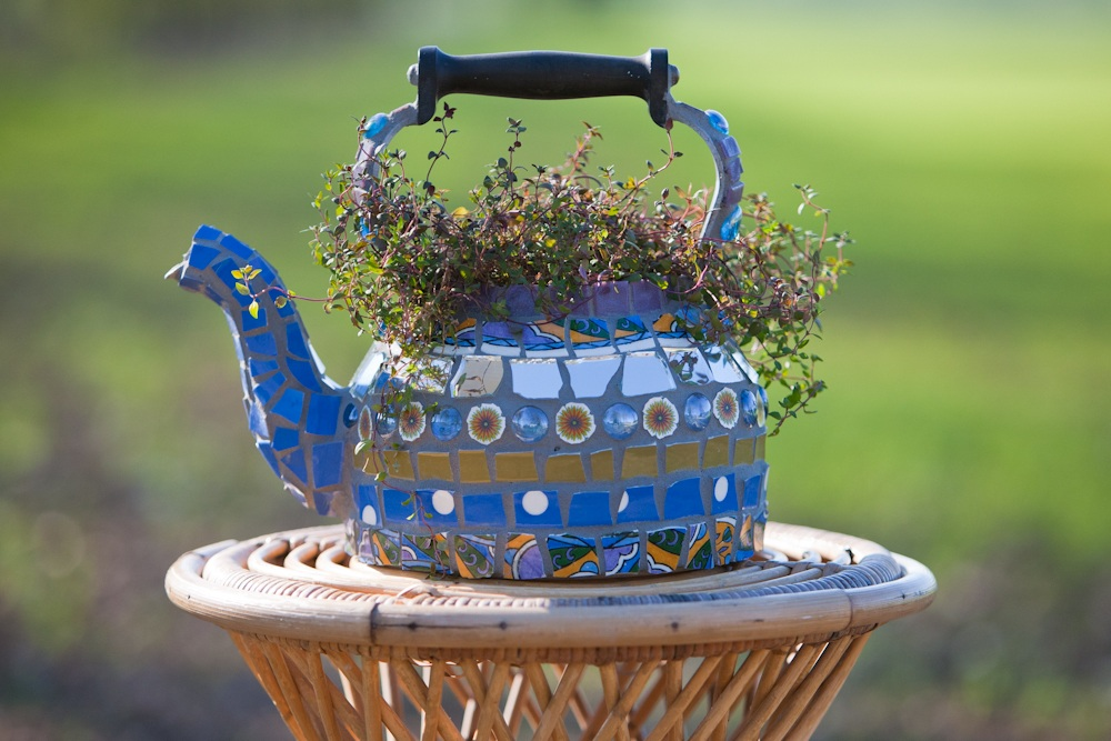 Vintage Aga kettle with mosaic retro ceramics