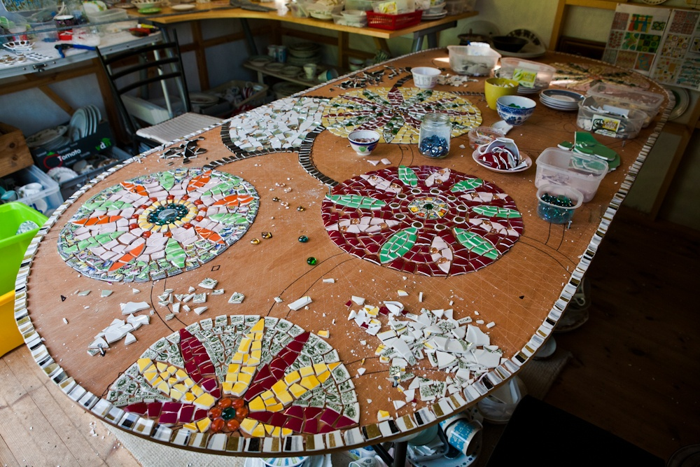vintage crockery mosaic table