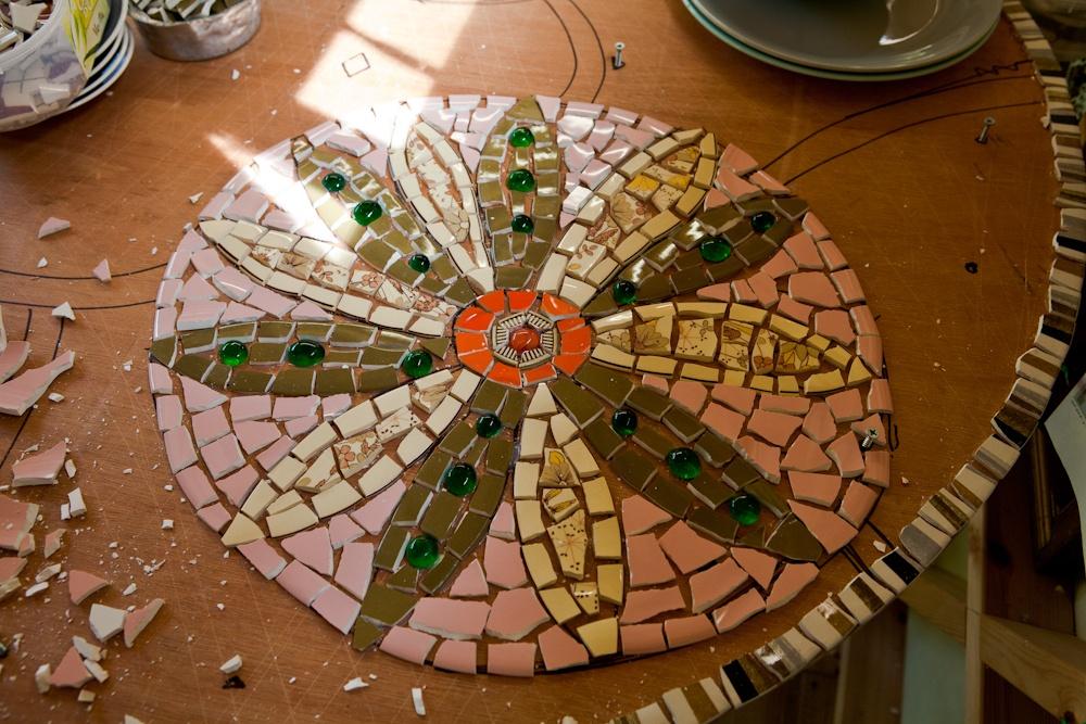 vintage crockery mosaic table