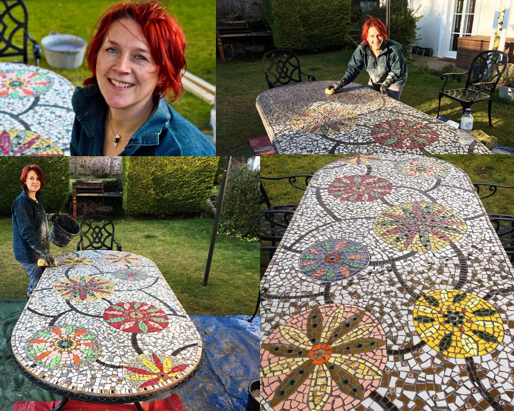 Grouting mosaic garden table top