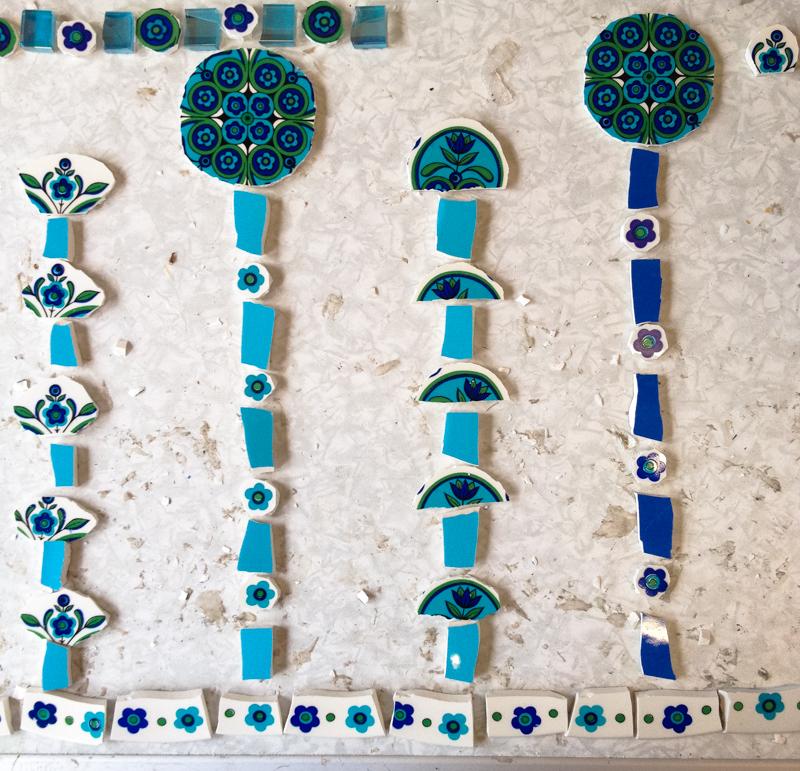 blue ceramic mosaic retro jug