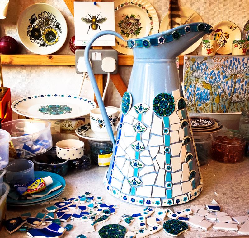 blue mosaic retro jug