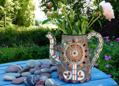 retro,vintage,mosaic,coffee pot,ceramic,crockery,mosaic art,sculpture,garden,homeware