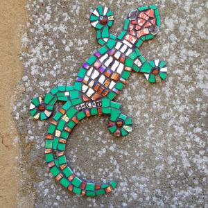 mosaic,gecko,garden,sculpture,mosaic art