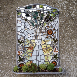 mosaic,planter,wall art,garden sculpture,mosaic art,succulent,vintage,ceramic,retro,mosaic artist