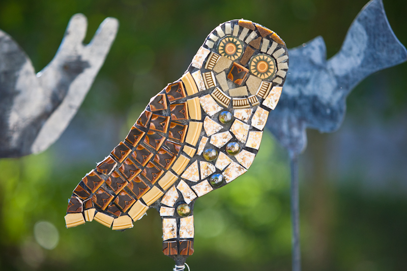 mosaic,art,owl,garden,sculpture,retro,vintage,ceramic,upcycle,repurpose,recycle,