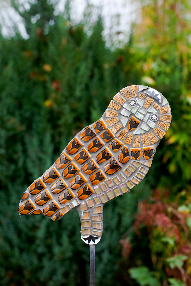 owl,mosaic,vintage,retro,upcycle,recycle,art