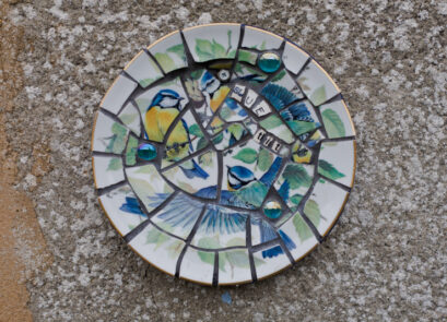 mosaic,bird,vintage,blue,retro,ceramic