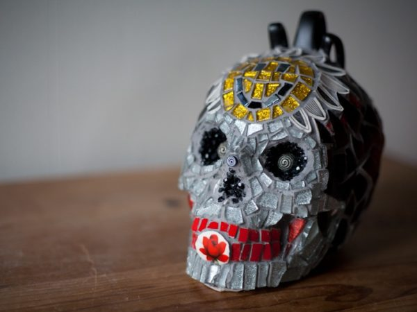 mosaic,skull,ceramic,retro,vintage,sugar skull,sculpture,punk,acid house,smiley face