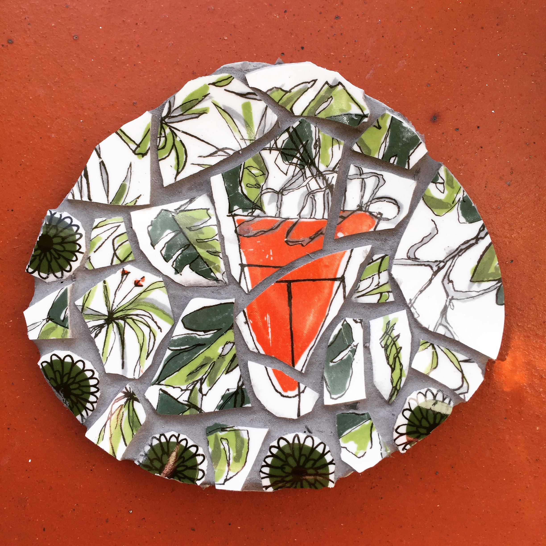 mosaic, shell,ceramic,vintage,crockery,mid century, plant life,