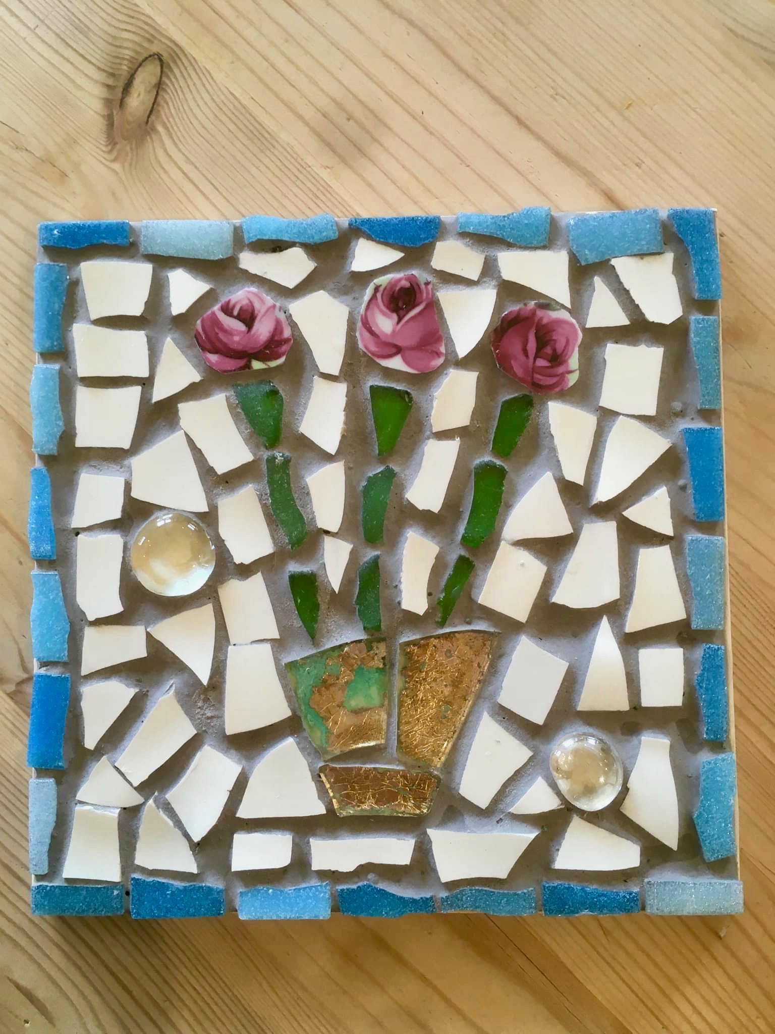 mosaic,tile,vintage,china,ceramics,crockery,repurpose