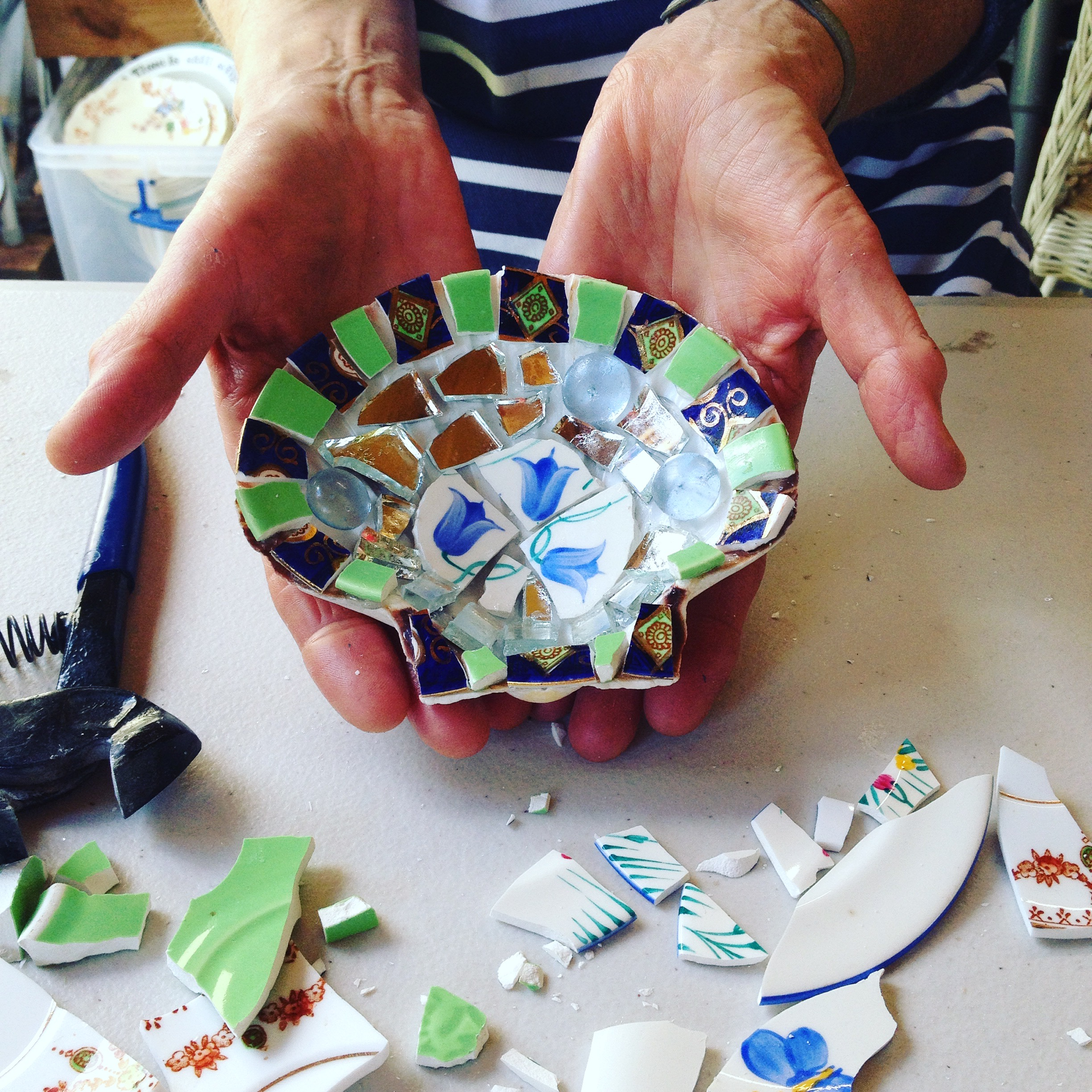 mosaic, workshop,shell,art,craft,sculpture,repurpose,upcycle,recycle
