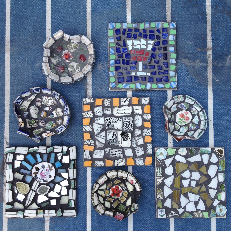 mosaic, tile,workshop,art,craft,retro,vintage,upcycle,recycle,sculpture