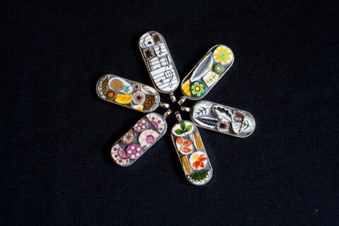 mosaic jewellery, mosaic pendant, vintage necklace, bespoke, designer necklace, vintage pendant